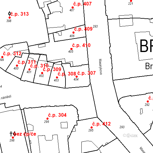 Katastrální mapa Stavební objekt Brno-město 307, Brno