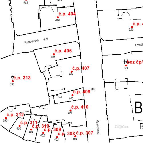 Katastrální mapa Stavební objekt Brno-město 407, Brno