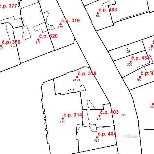 Katastrální mapa Stavební objekt Brno-město 318, Brno