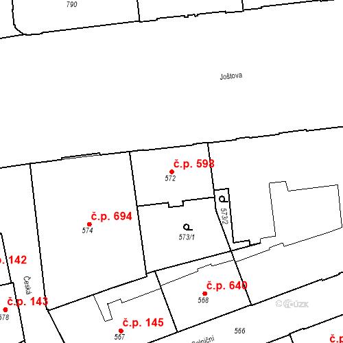 Katastrální mapa Stavební objekt Brno-město 598, Brno