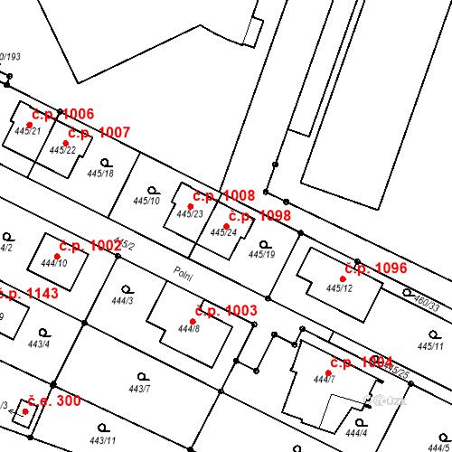 Katastrální mapa Stavební objekt Modřice 1098, Modřice