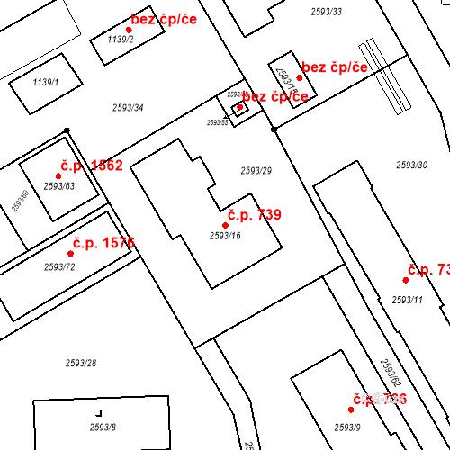 Katastrální mapa Stavební objekt Žamberk 739, Žamberk