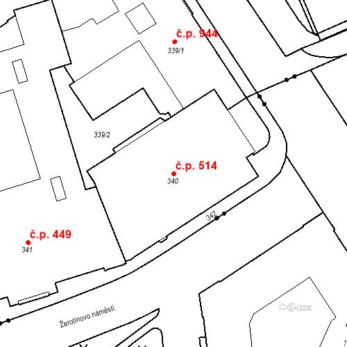Katastrální mapa Stavební objekt Veveří 514, Brno