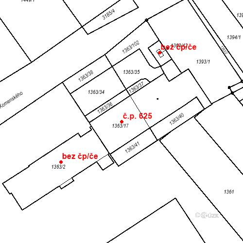 Katastrální mapa Stavební objekt Blučina 625, Blučina