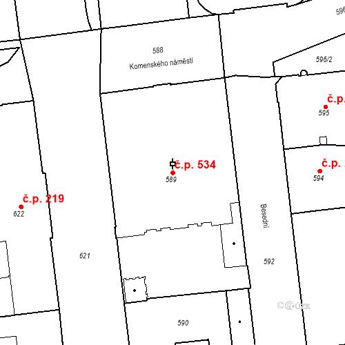 Katastrální mapa Stavební objekt Brno-město 534, Brno
