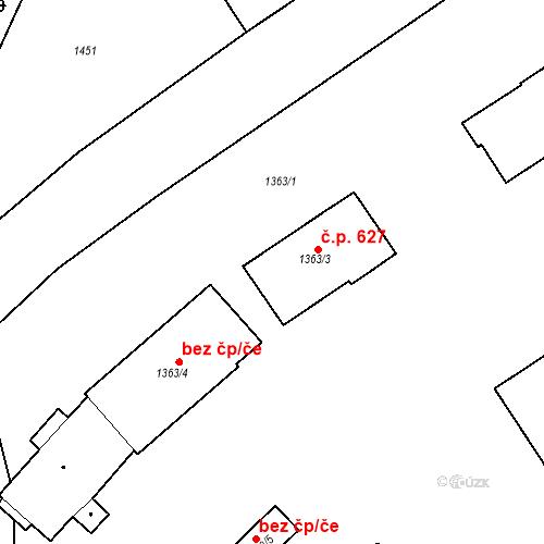 Katastrální mapa Stavební objekt Blučina 627, Blučina