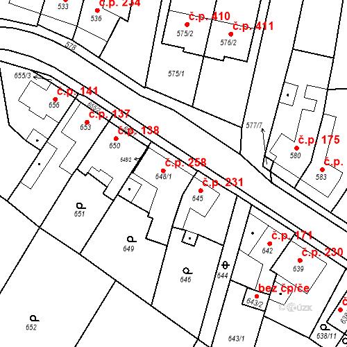 Katastrální mapa Stavební objekt Lelekovice 258, Lelekovice