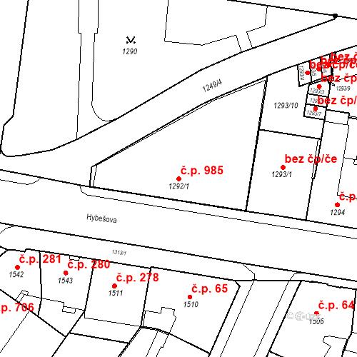 Katastrální mapa Stavební objekt Staré Brno 985, Brno