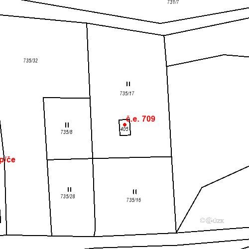 Katastrální mapa Stavební objekt Březová nad Svitavou 709, Březová nad Svitavou