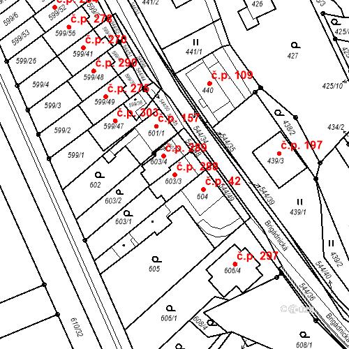 Katastrální mapa Stavební objekt Mokrá Hora 288, Brno