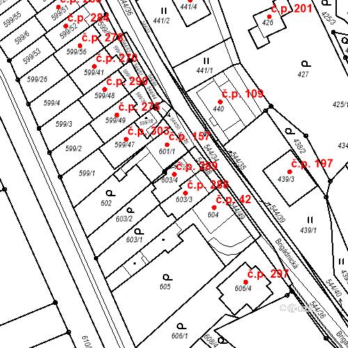 Katastrální mapa Stavební objekt Mokrá Hora 289, Brno