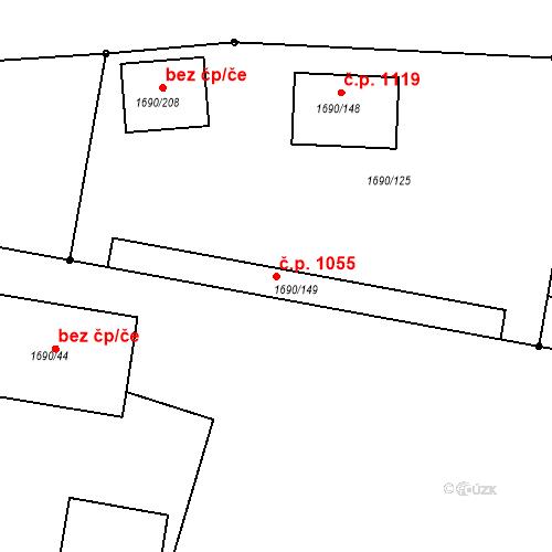 Katastrální mapa Stavební objekt Modřice 1055, Modřice