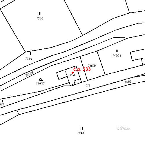 Katastrální mapa Stavební objekt Březová nad Svitavou 233, Březová nad Svitavou