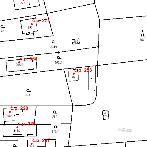 Katastrální mapa Stavební objekt Lelekovice 253, Lelekovice