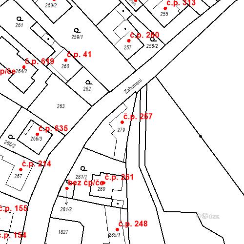 Katastrální mapa Stavební objekt Lelekovice 257, Lelekovice