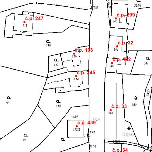 Katastrální mapa Stavební objekt Lelekovice 245, Lelekovice