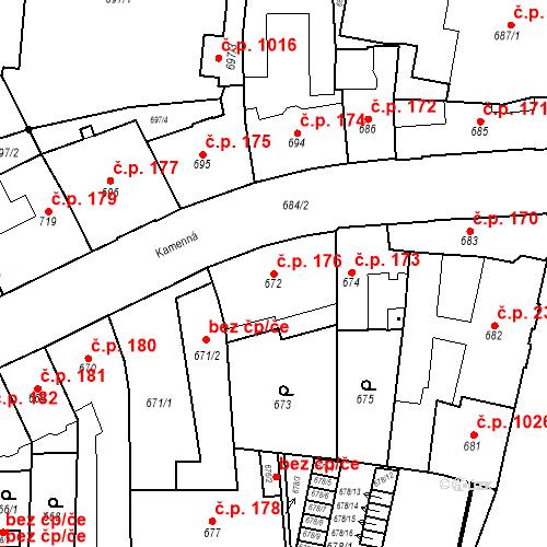 Katastrální mapa Stavební objekt Štýřice 176, Brno