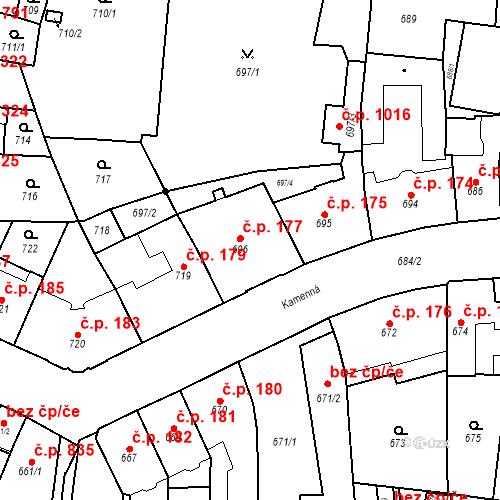 Katastrální mapa Stavební objekt Štýřice 177, Brno