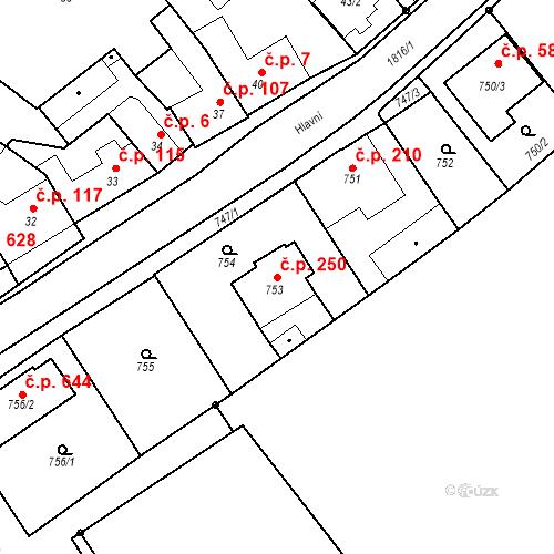 Katastrální mapa Stavební objekt Lelekovice 250, Lelekovice