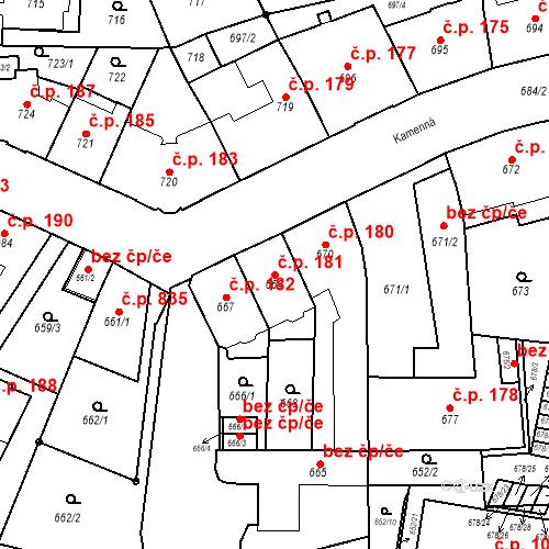 Katastrální mapa Stavební objekt Štýřice 181, Brno