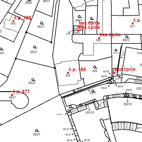 Katastrální mapa Stavební objekt Štýřice 184, Brno