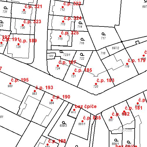 Katastrální mapa Stavební objekt Štýřice 185, Brno