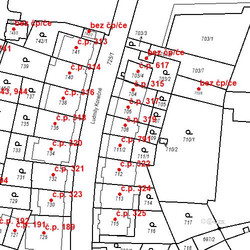 Katastrální mapa Stavební objekt Štýřice 319, Brno