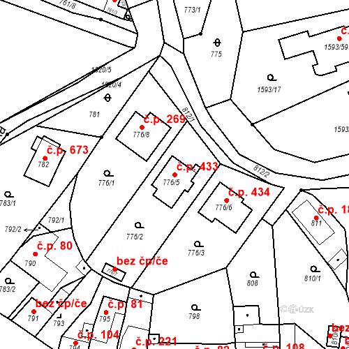 Katastrální mapa Stavební objekt Lelekovice 433, Lelekovice