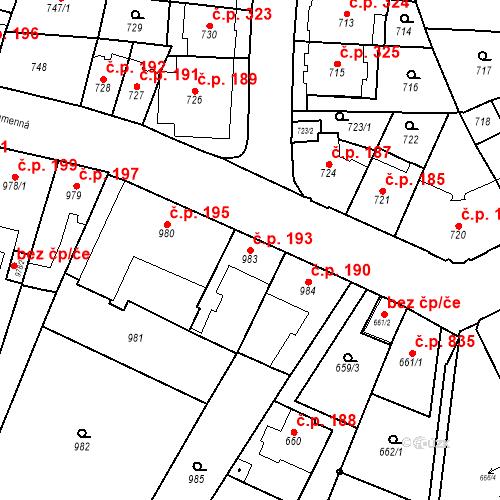 Katastrální mapa Stavební objekt Štýřice 193, Brno