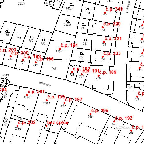 Katastrální mapa Stavební objekt Štýřice 192, Brno