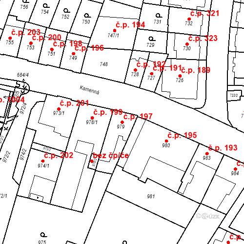 Katastrální mapa Stavební objekt Štýřice 197, Brno