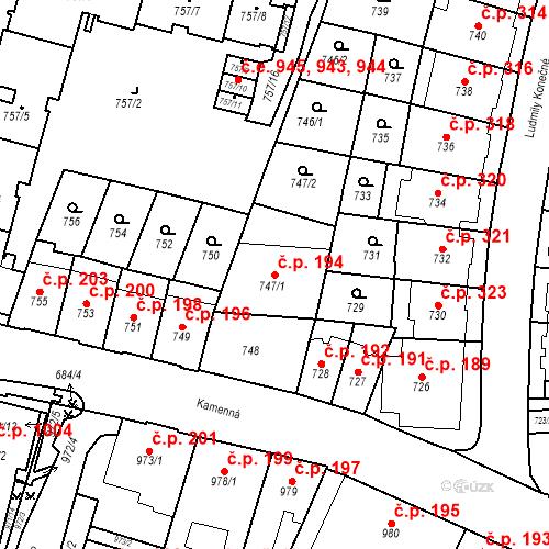 Katastrální mapa Stavební objekt Štýřice 194, Brno