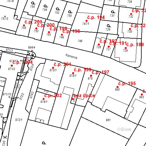 Katastrální mapa Stavební objekt Štýřice 199, Brno