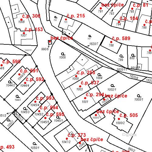 Katastrální mapa Stavební objekt Lelekovice 255, Lelekovice