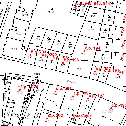 Katastrální mapa Stavební objekt Štýřice 196, Brno