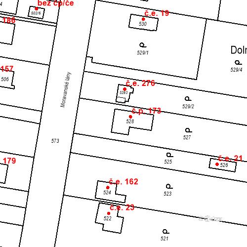Katastrální mapa Stavební objekt Dolní Heršpice 173, Brno