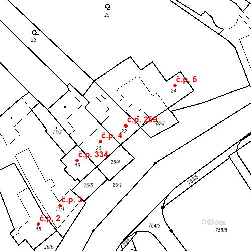 Katastrální mapa Stavební objekt Lelekovice 259, Lelekovice