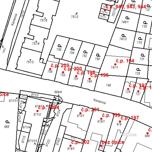Katastrální mapa Stavební objekt Štýřice 198, Brno