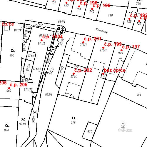 Katastrální mapa Stavební objekt Štýřice 202, Brno