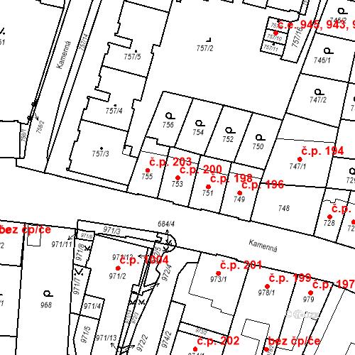 Katastrální mapa Stavební objekt Štýřice 200, Brno
