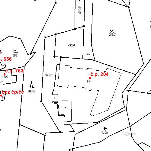 Katastrální mapa Stavební objekt Štýřice 204, Brno