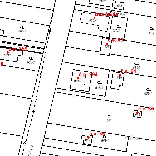 Katastrální mapa Stavební objekt Přízřenice 294, Brno