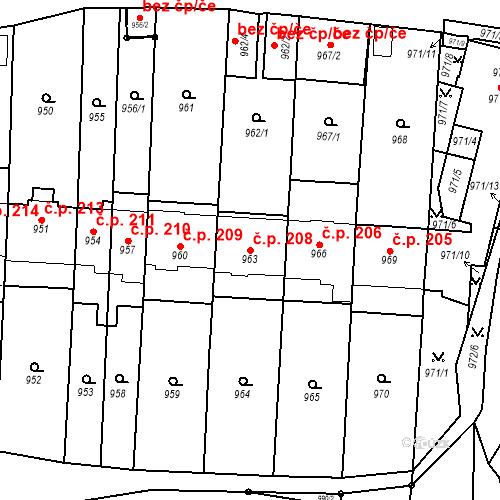 Katastrální mapa Stavební objekt Štýřice 208, Brno