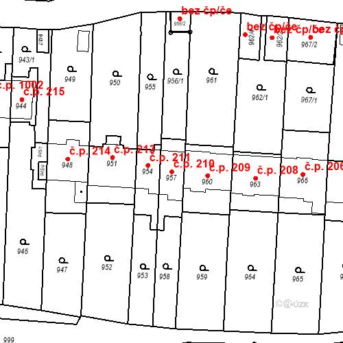Katastrální mapa Stavební objekt Štýřice 210, Brno