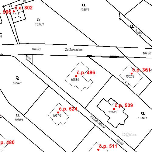 Katastrální mapa Stavební objekt Lelekovice 496, Lelekovice