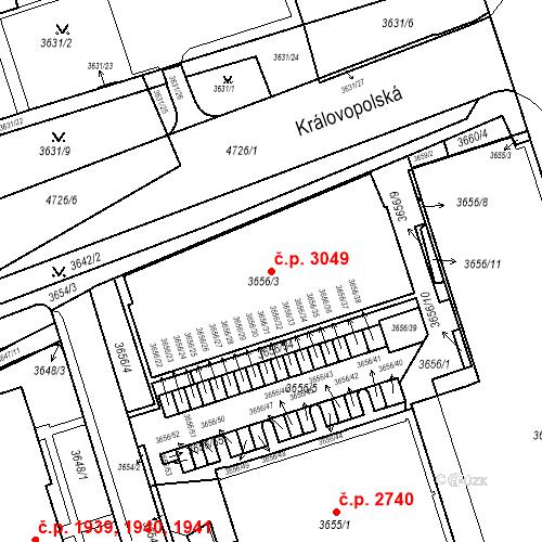 Katastrální mapa Stavební objekt Královo Pole 3049, Brno