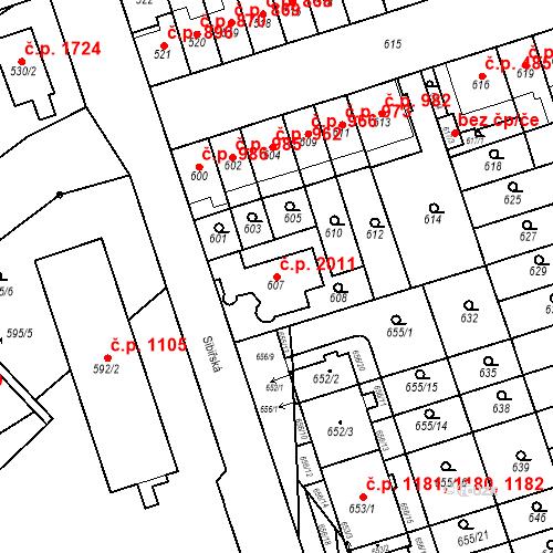 Katastrální mapa Stavební objekt Řečkovice 2011, Brno