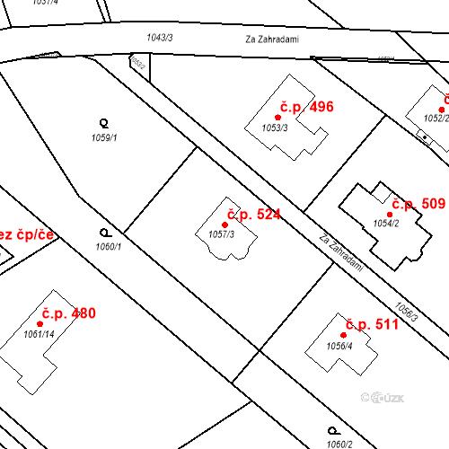 Katastrální mapa Stavební objekt Lelekovice 524, Lelekovice
