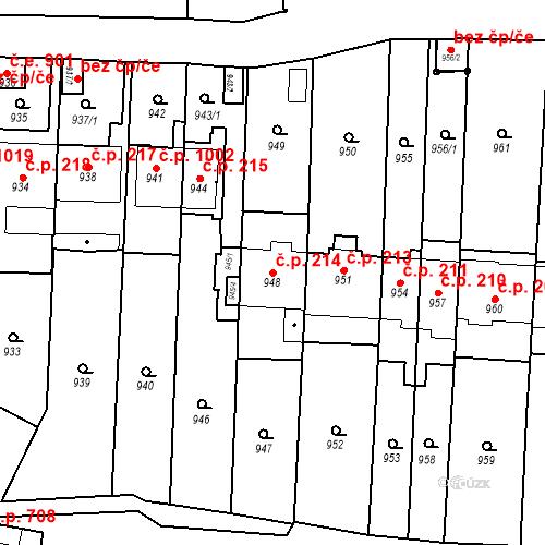 Katastrální mapa Stavební objekt Štýřice 214, Brno
