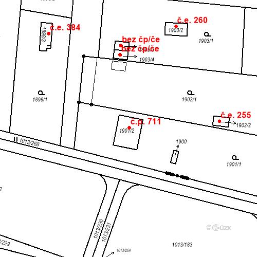 Katastrální mapa Stavební objekt Horní Heršpice 711, Brno